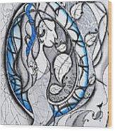 In Memory Of Blue Woman Wood Print