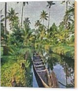 In The Backwaters Of Kerala Wood Print