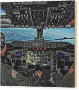 In The Cockpit Of A Kc-135 Stratotanker  Wood Print