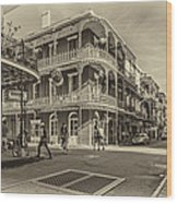 In The French Quarter Sepia Wood Print