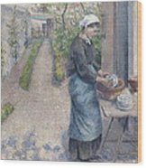 In The Garden At Pontoise A Young Woman Wood Print