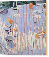 In The Garden Table With Oranges  Wood Print by Sarah Butterfield