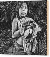 Girl With Oso Dormilon Wood Print