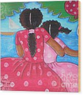 in the park by the sea by Elaine Jackson Wood Print