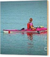 In The Pink Kayaker Wood Print