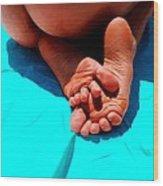 In The Pool - Feet Series Wood Print