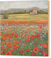 In The Poppy Field Wood Print