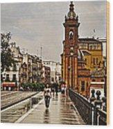In The Rain - Puente De Triana Wood Print