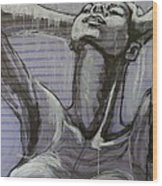 In The Shower - Portrait Of A Woman Wood Print