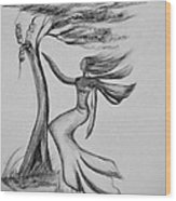 In The Wind She Dances Wood Print