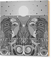 In Unity And Harmony In Grayscale Wood Print