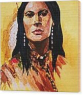 Maiden In White Feather And Beads Wood Print