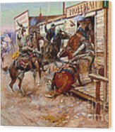 In Without Knocking By Charles M. Russell Wood Print