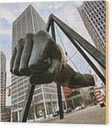 In Your Face -  Joe Louis Fist Statue - Detroit Michigan Wood Print by Gordon Dean II
