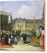 Inauguration Of A Monument In Memory Of Louis Xvi 1754-93 By Charles X 1757-1836 At The Place De La Wood Print