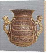 Inca Vase With Geometric Decoration Wood Print