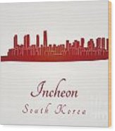 Incheon Skyline In Red Wood Print