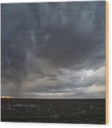 Incoming Storm Over A Cotton Field Wood Print by Melany Sarafis