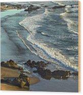 Incoming Waves At Bandon Beach Oregon Wood Print