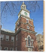 Independence Hall Bell Tower Wood Print by Olivier Le Queinec
