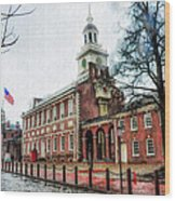 Independence Hall From Chestnut Street Wood Print