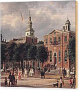 Independence Hall In Philadelphia Wood Print