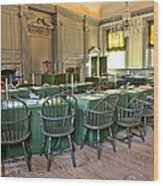 Independence Hall Wood Print by Olivier Le Queinec
