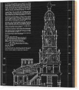 Independence Hall Transverse Section - Philadelphia Wood Print