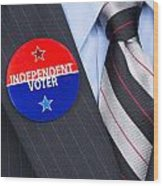 Independent Voter Pin Wood Print