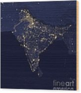 India At Night Satellite Image Wood Print