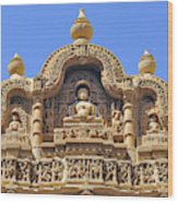 India, Rajasthan, Bas-relief On The Frontage Of A Jain Temple In Jaisalmer Wood Print