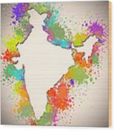India Watercolor Map Painting Wood Print