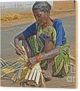 Indian Aged Woman Working Wood Print