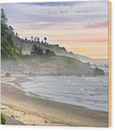 Indian Beach One Foggy Morning Wood Print