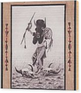 Indian Buffalo Dancer Wood Print by Billie Bowles