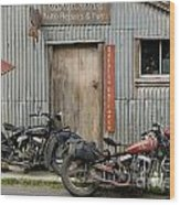 Indian Chout And Chief Bobber At The Old Okains Bay Garage Wood Print
