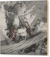 Indian Corn In Basket Partial Color Wood Print