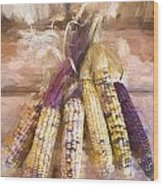 Indian Corn Painterly Effect Wood Print