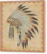 Indian Head Dress-a Wood Print