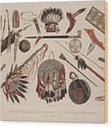 Indian Implements And Arms Wood Print