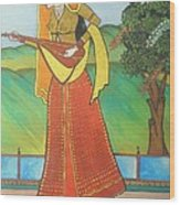 Indian Lady Playing Ancient Musical Instrument Wood Print