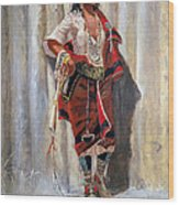 Indian Maid At Stockade By Charles Marion Russell Wood Print
