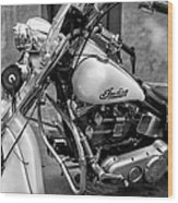 Indian Motorcycle In French Quarter-bw Wood Print