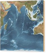 Indian Ocean Sea Floor Topography Wood Print