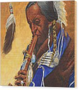 Indian Playing Flute Wood Print