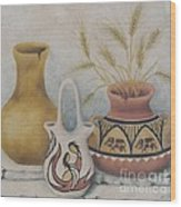 Indian Pots Wood Print