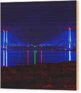 Indian River Inlet Bridge After Dark Wood Print