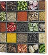 Indian Spice Grid Wood Print by Tim Gainey