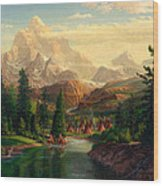 Indian Village Trapper Western Mountain Landscape Oil Painting - Native Americans -square Format Wood Print