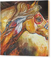 Indian War Horse Golden Sun Wood Print